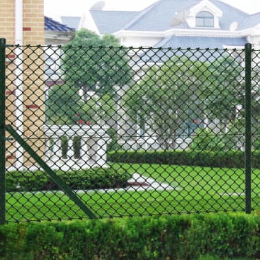 """vidaXL Chain Link Fence with Posts Galvanised Steel 59.1""""x 984.3"""" Green[1/8]"""