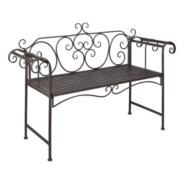vidaxl gartenbank mit schn rkelmuster lehne braun metall g nstig kaufen. Black Bedroom Furniture Sets. Home Design Ideas