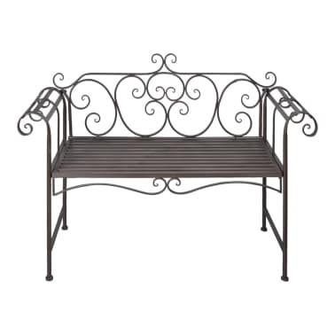 vidaXL Garden Bench 132 cm Steel Antique Brown[2/5]