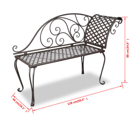 vidaXL Metal Garden Chaise Lounge Antique Brown Scroll-patterned[5/5]