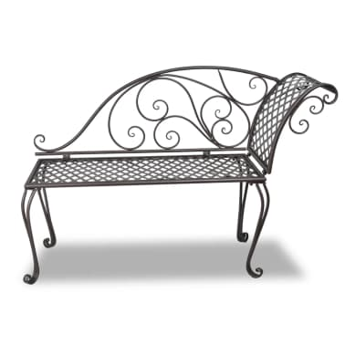 vidaXL Metal Garden Chaise Lounge Antique Brown Scroll-patterned[2/5]