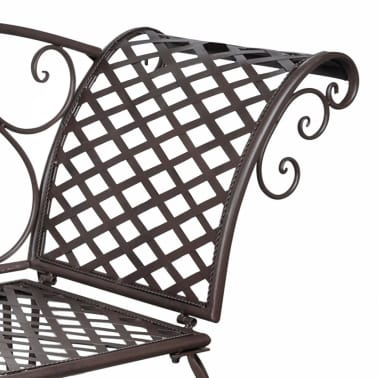vidaXL Metal Garden Chaise Lounge Antique Brown Scroll-patterned[4/5]