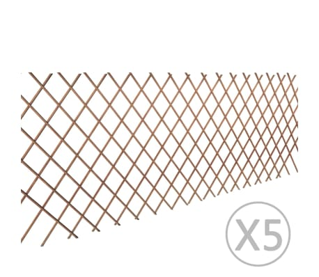 vidaXL Willow Trellis Fence 5 pcs 180x90 cm