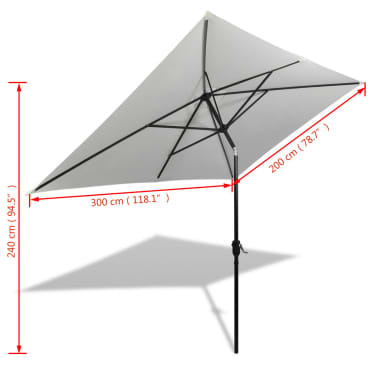 vidaXL Parasoll 200 x 300 cm sandhvit rektangulær[6/6]