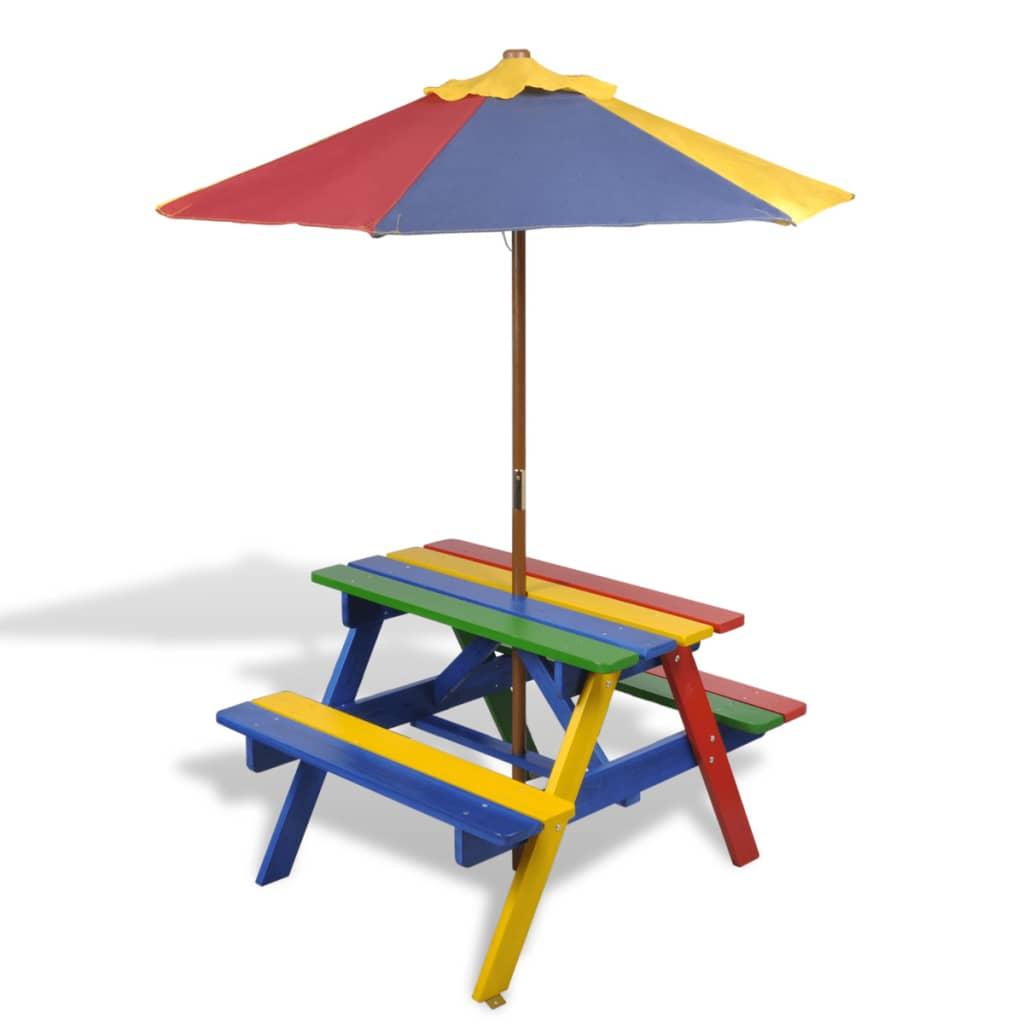 Dětský piknikový stůl a lavičky se slunečníkem, čtyřbarevný
