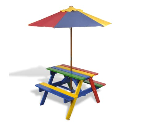 vidaXL Kids' Picnic Table with Benches and Parasol Multicolour Wood[1/7]