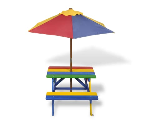 Kids Picnic Table & Benches with Parasol in Four Colours[2/7]