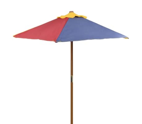 vidaXL Kids' Picnic Table with Benches and Parasol Multicolour Wood[3/7]