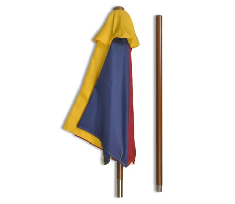 vidaXL Kids' Picnic Table with Benches and Parasol Multicolour Wood[4/7]