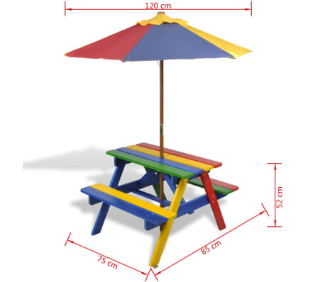 vidaXL Kids' Picnic Table with Benches and Parasol Multicolour Wood[7/7]