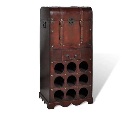 vidaXL Wooden Wine Rack for 9 Bottles with Storage