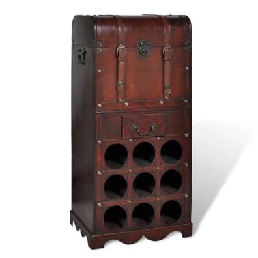 vidaXL Botellero de madera para 9 botellas baúl con cajón[1/4]