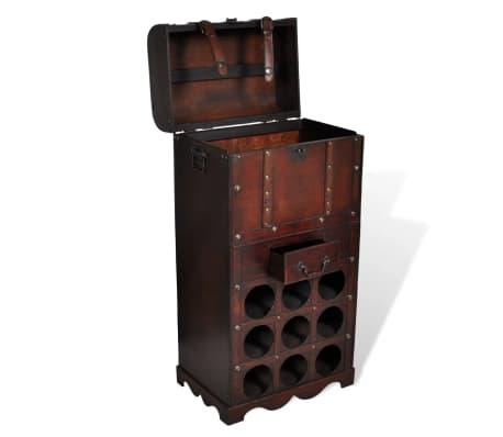 vidaXL Botellero de madera para 9 botellas baúl con cajón[3/4]