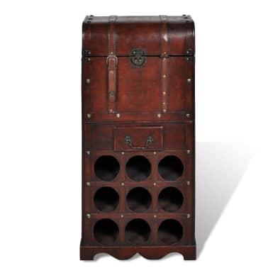 vidaXL Botellero de madera para 9 botellas baúl con cajón[2/4]