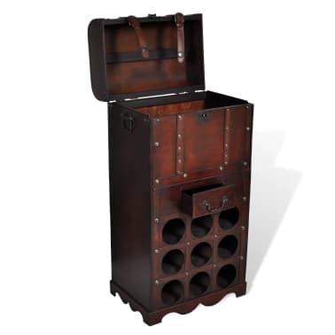 vidaXL Holz-Flaschenregal für 9 Flaschen mit Aufbewahrungstruhe[3/4]