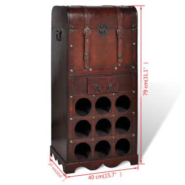 vidaXL Botellero de madera para 9 botellas baúl con cajón[4/4]