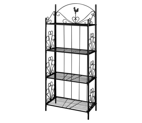 This black plant rack, with flower-patterned detailing, is a perfect choice to place your plants, which will be a real eye-catcher in any garden, patio or terrace.