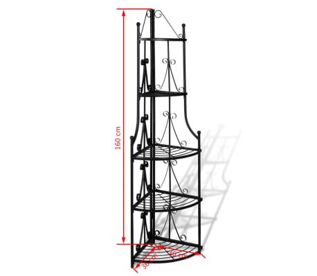 Kovový rohový stojan na květiny - 36 x 160 cm - černý[5/5]
