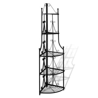 Kovový rohový stojan na květiny - 36 x 160 cm - černý[2/5]