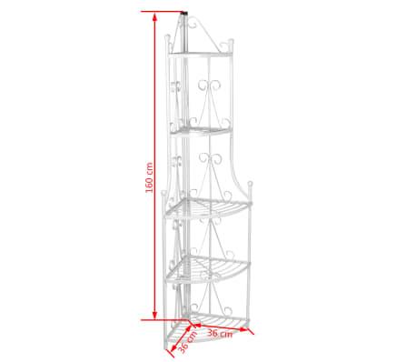 Kovový rohový stojan na květiny - 36 x 160 cm - bílý[4/4]