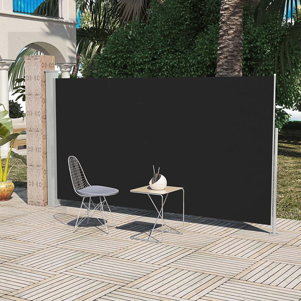 vidaXL Σκίαστρο Πλαϊνό Συρόμενο Βεράντας Μαύρο 160 x 300 εκ.