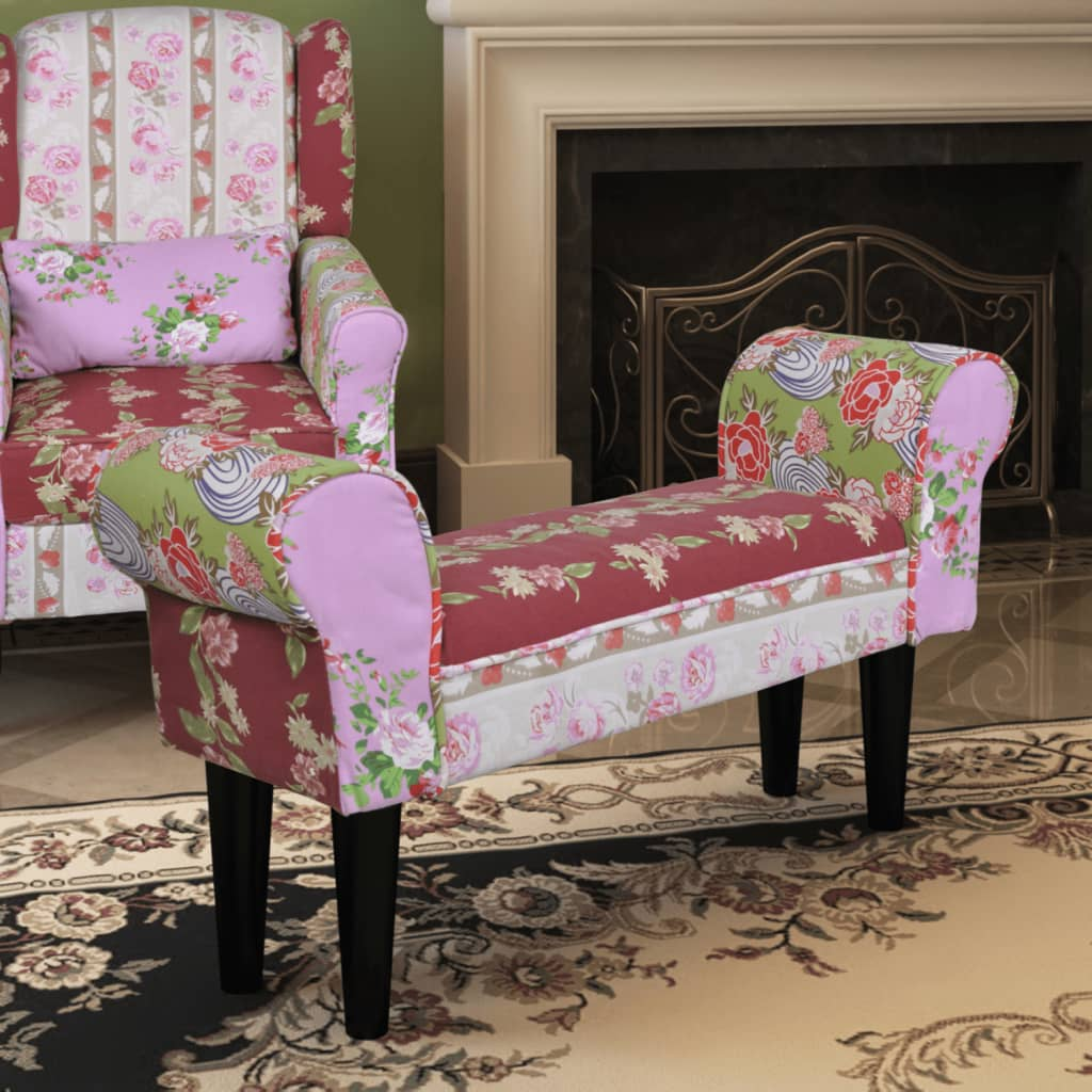 Patchworková lavice s květinovým vzorem