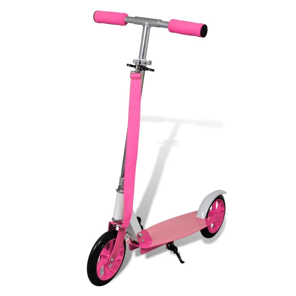 Trotinetă Scooter aluminiu pliabilă diametru roți 205 mm roz vidaxl.ro