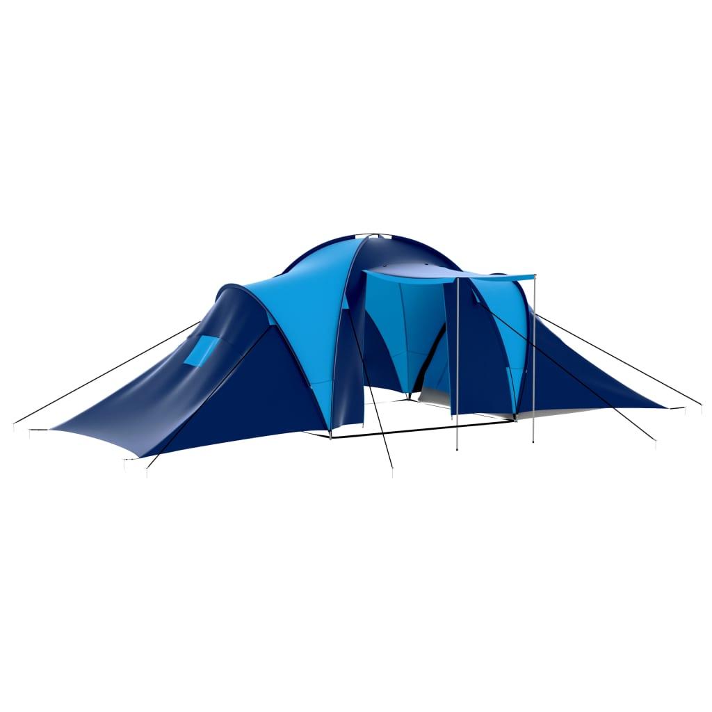 vidaXL Cort camping textil, 9 persoane, albastru închis și albastru imagine vidaxl.ro
