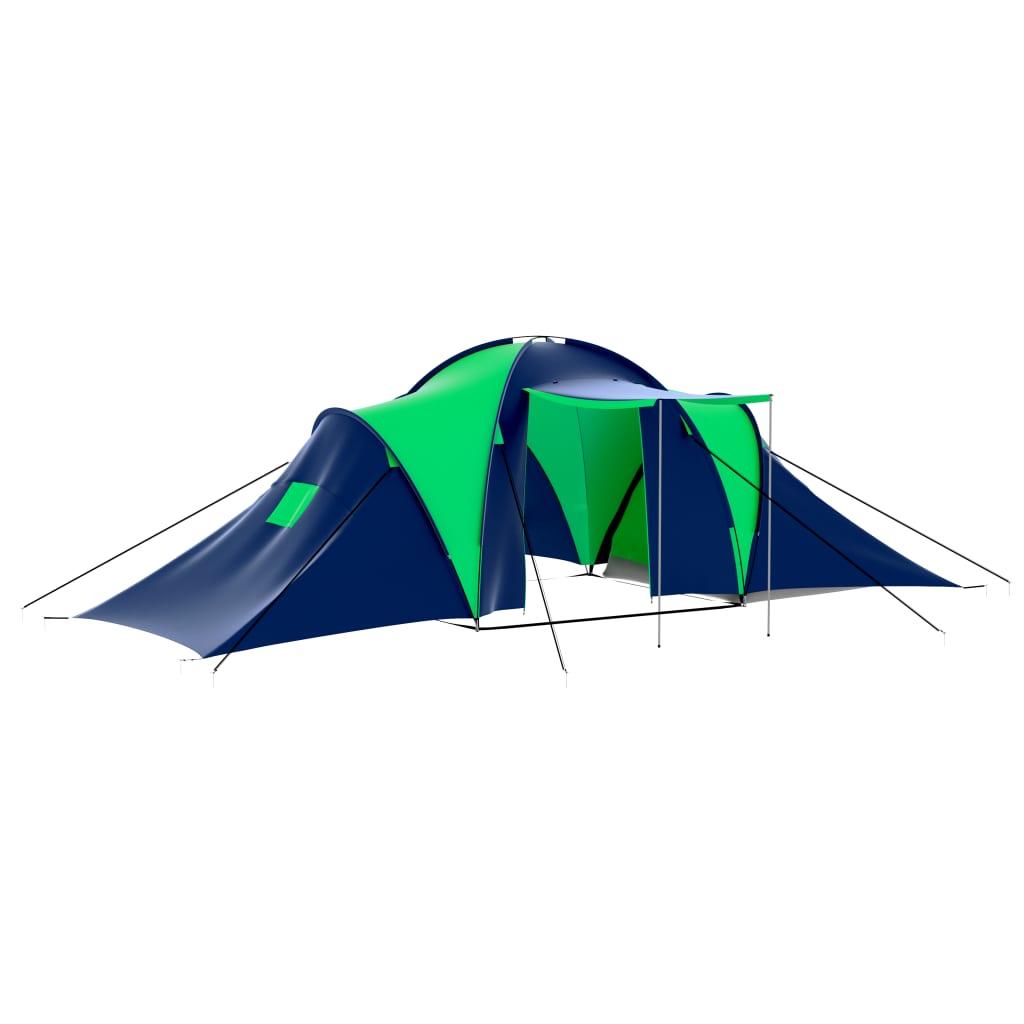 Polyester 9-persoons kampeertent (blauw-groen)