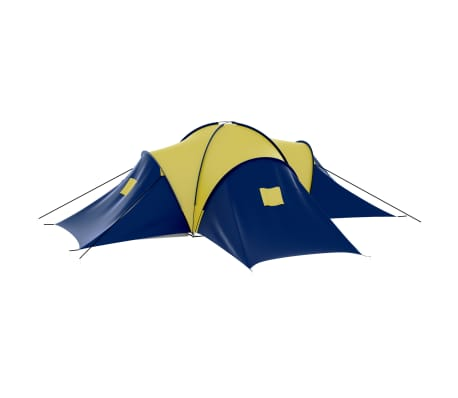 vidaXL Camping Tent Fabric 9 Persons Blue and Yellow[5/8]