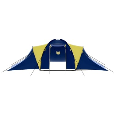 vidaXL Camping Tent Fabric 9 Persons Blue and Yellow[3/8]
