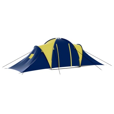 vidaXL Camping Tent Fabric 9 Persons Blue and Yellow[4/8]