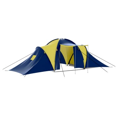 vidaXL Camping Tent Fabric 9 Persons Blue and Yellow[1/8]