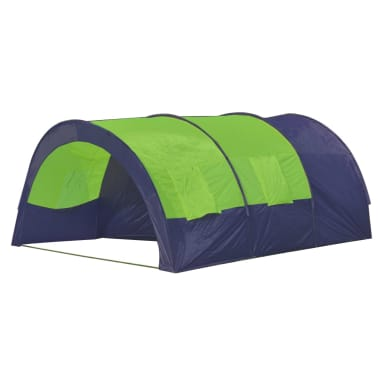 vidaXL Camping Tent Fabric 6 Persons Blue and Green[2/7]