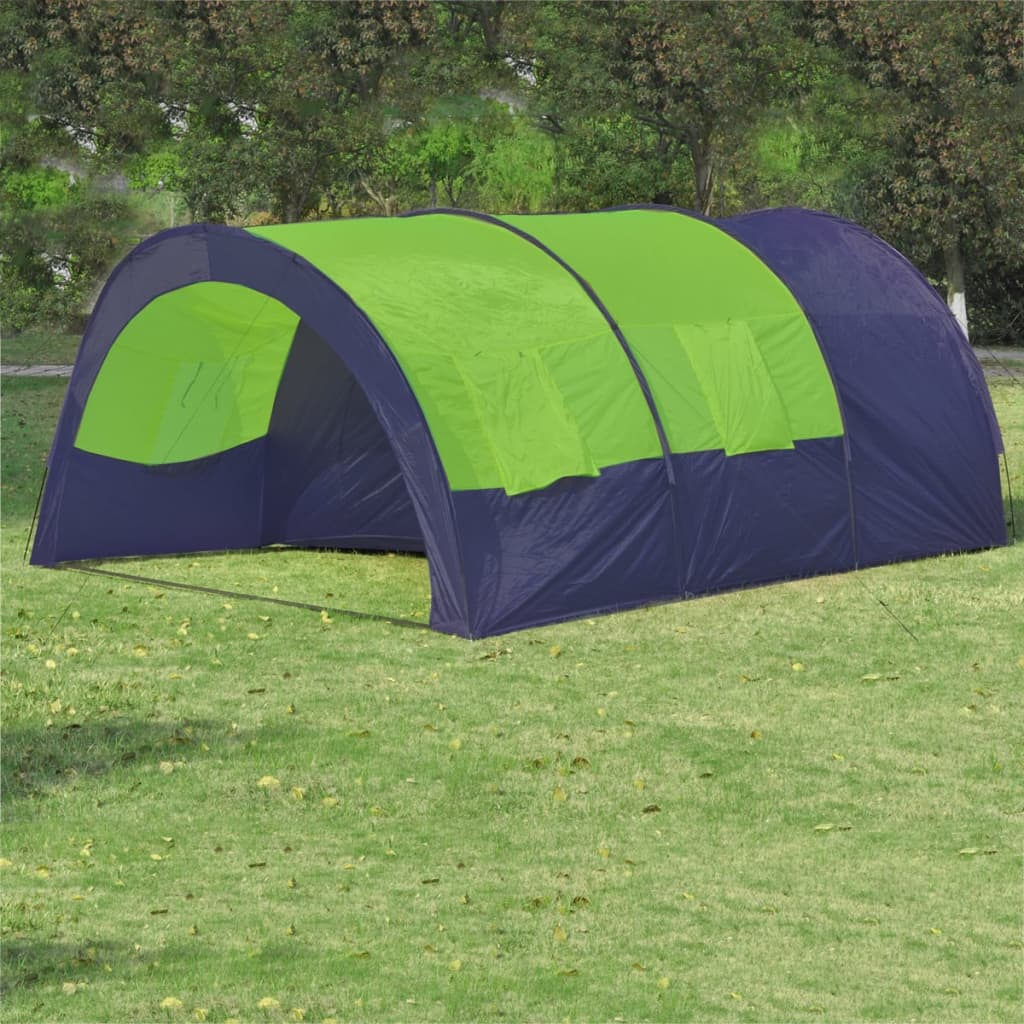 vidaXL Polyester Camping Tent 6 Persons Blue-Green