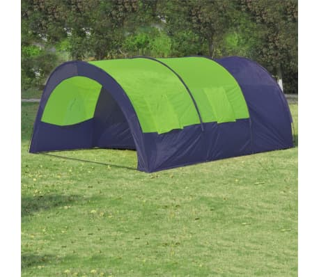 vidaXL Camping Tent Fabric 6 Persons Blue and Green[1/7]