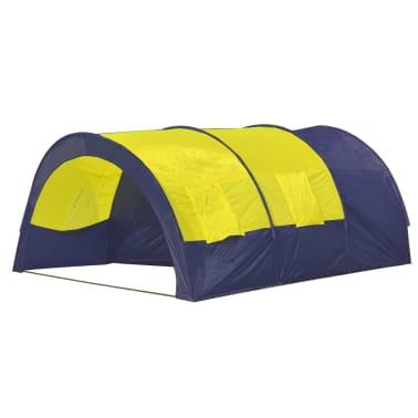 Tunnelzelt Campingzelt Familienzelt 6 Personen Gruppenzelt blau-gelb[2/7]