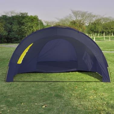 Tunnelzelt Campingzelt Familienzelt 6 Personen Gruppenzelt blau-gelb[6/7]