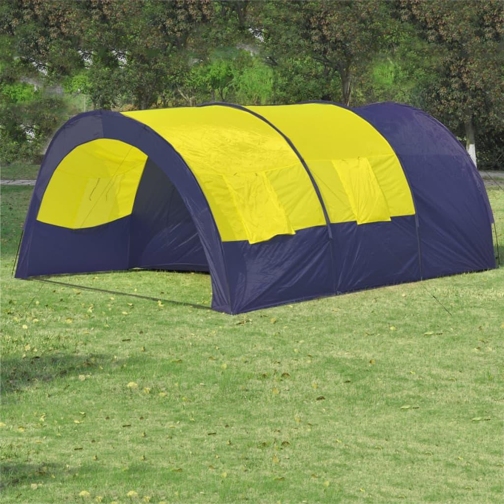 Polyesterový kempový stan pro 6 osob modro-žlutý
