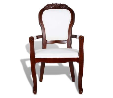 Poltrona stile barocco legno marrone tessuto bianco | vidaXL.it