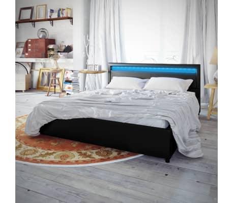 acheter lit en cuir 180 200 cm noir avec clairage led et le matelas pas cher. Black Bedroom Furniture Sets. Home Design Ideas