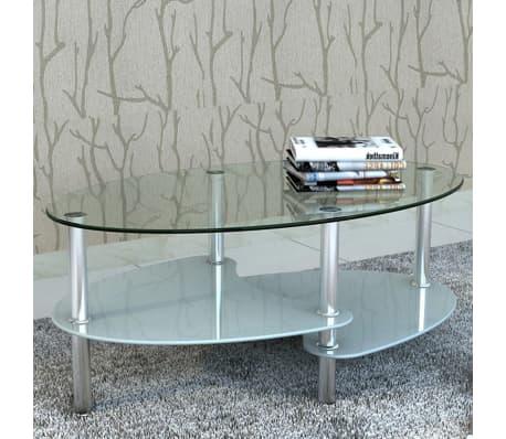 vidaXL Mesa de centro de vidrio con diseño exclusivo blanca[1/4]