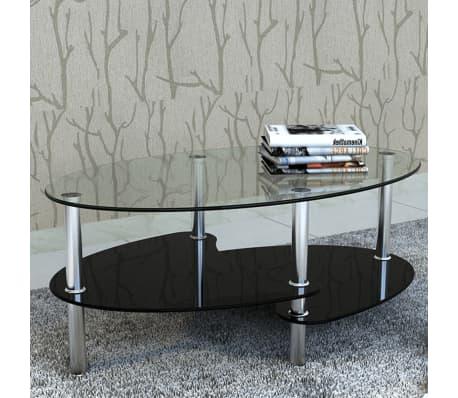 vidaXL Mesa de centro de vidrio con diseño exclusivo negra -picture