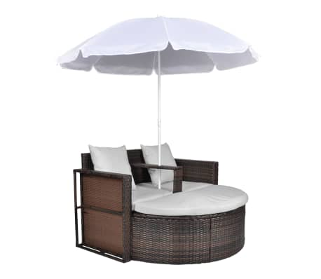 Poly Rattan Loungebed set met parasol (bruin)