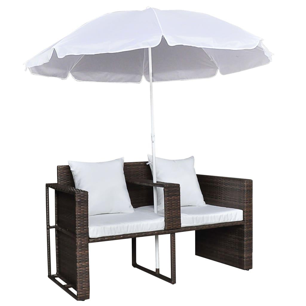 Zahradní postel se slunečníkem hnědá polyratan