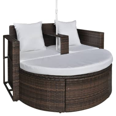 vidaXL Garden Bed with Parasol Brown Poly Rattan[5/8]