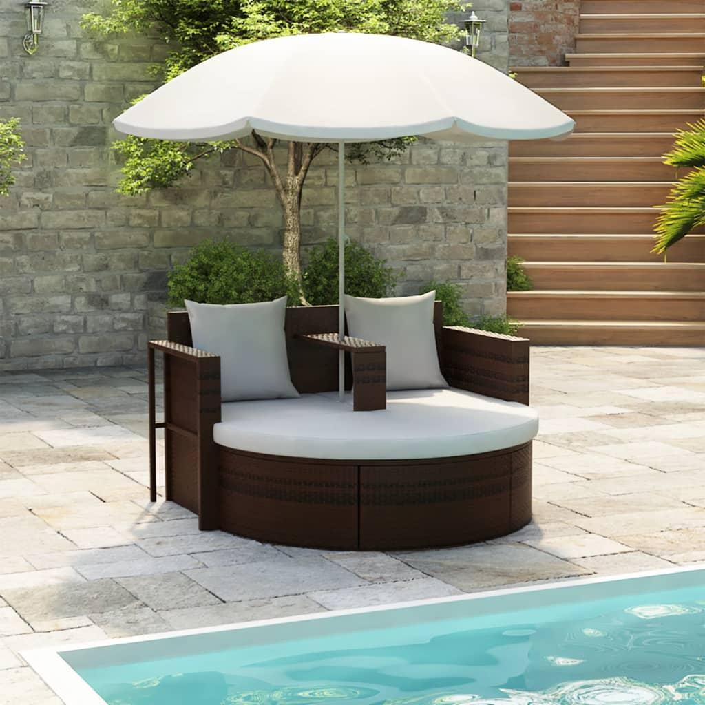 vidaXL Brown Garden Poly Rattan Lounge Set with Parasol Outdoor
