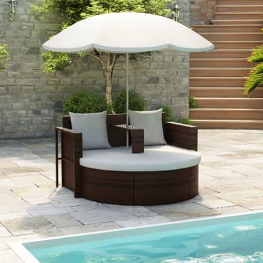 vidaXL Garden Bed with Parasol Brown Poly Rattan[1/8]