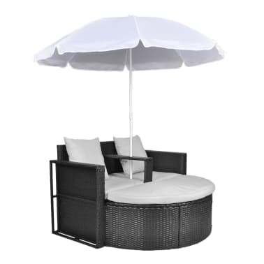 vidaXL Garden Bed with Parasol Black Poly Rattan[2/8]
