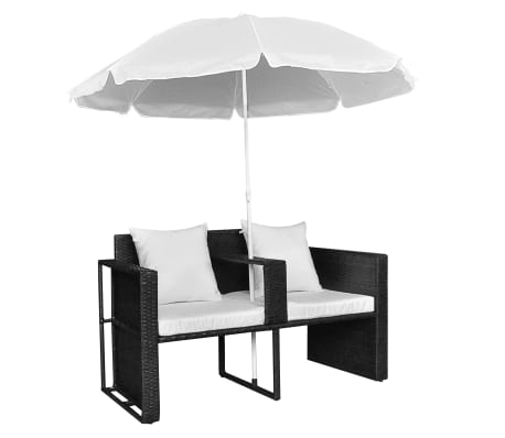 Black Garden Poly Rattan Lounge Set with Parasol Outdoor[5/8]